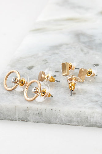 Dainty Geo Shape Earring Set