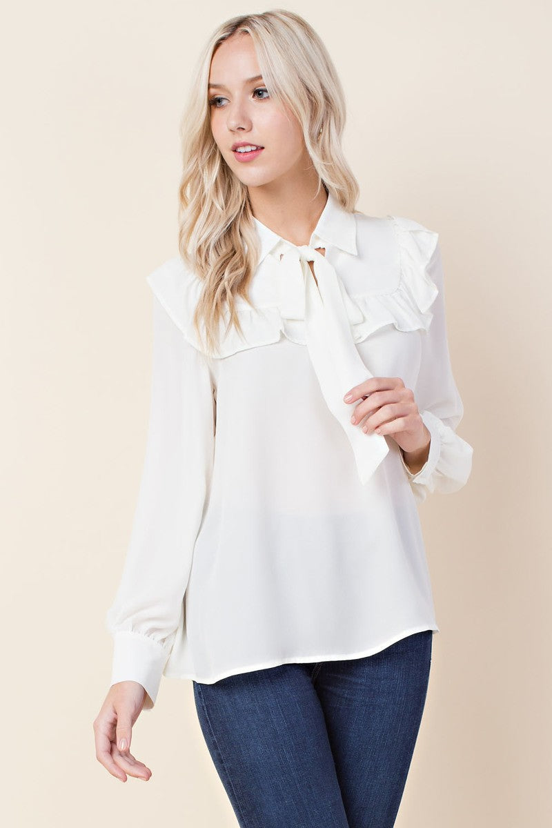 Ruffled Neck Tie Blouse