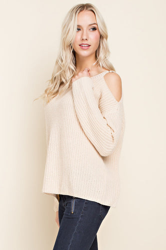 Cold Shoulder Cream Sweater