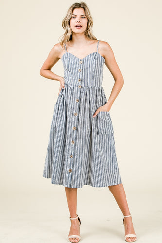 Button Down Sweetheart Midi Dress - Navy