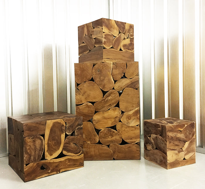 7 Piece Sliced Wood Box Set