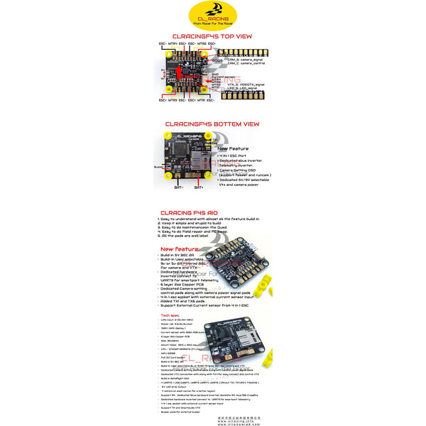 CL RACING F4S V1.4 FLIGHT CONTROLLER PDB AIO (NEW VERSION)