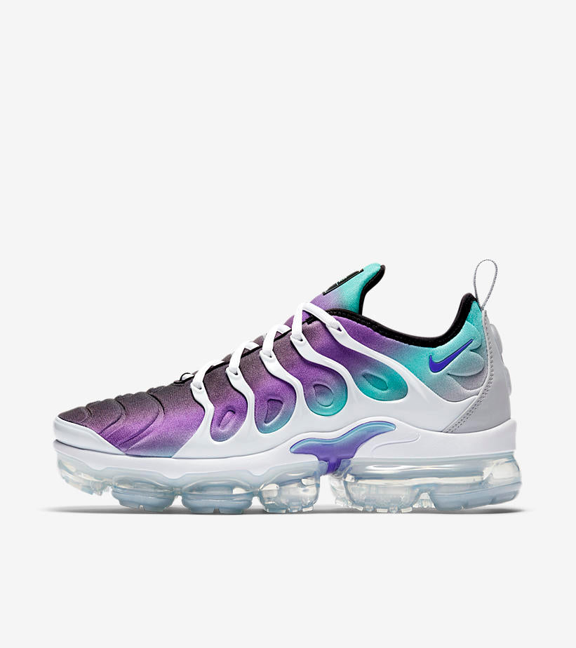 e185d7e11000c9 Nike Air VaporMax Plus 924453-101. WHITE FIERCE PURPLE-AURORA GREEN-BLACK  Price  £169.00. Launch  Saturday 14th April  ONLINE 08 00BST