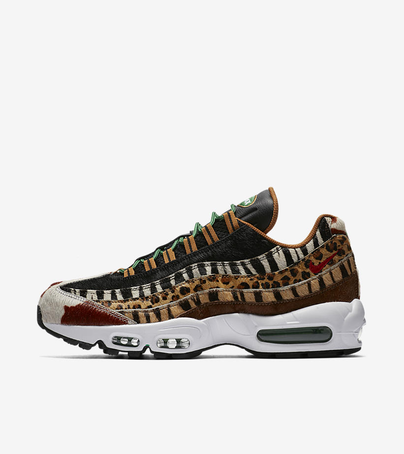 """Nike Air Max 95 x atmos """"Beast Pack"""" AQ0929-200. PONY/SPORT  RED-BLACK-CLASSIC GREEN Price: £215.00. Launch: Saturday 17th March;  IN-STORE ONLY 10:00GMT"""