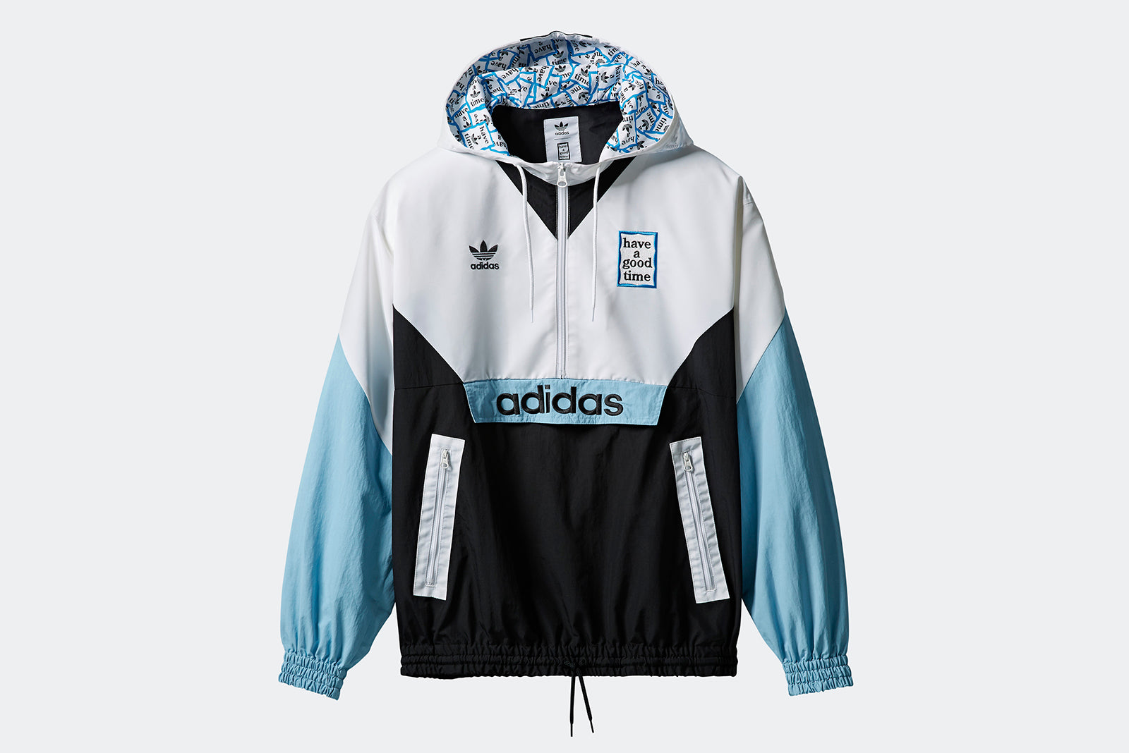 b0531488a3f adidas Originals Pullover Windbreaker x Have A Good Time DZ9235 White /  Black / Clear Blue Price: £179.00. Launch: January 19th
