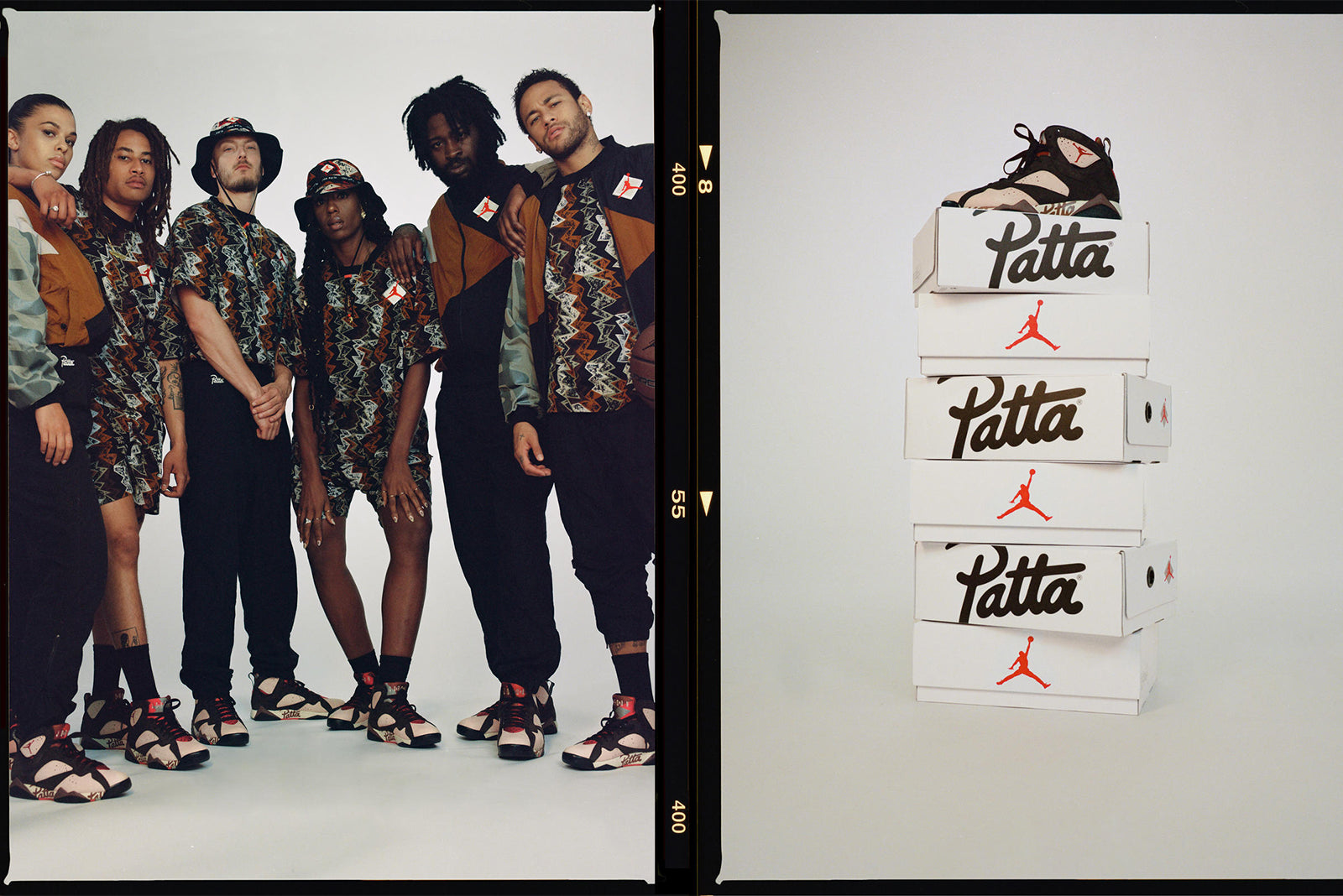 "6fdb42c2d76 This is true of the Patta x Jordan collection, inclusive of the Air Jordan  VII ""Patta,"" a track suit, shorts, T-shirt and bucket hat, ..."