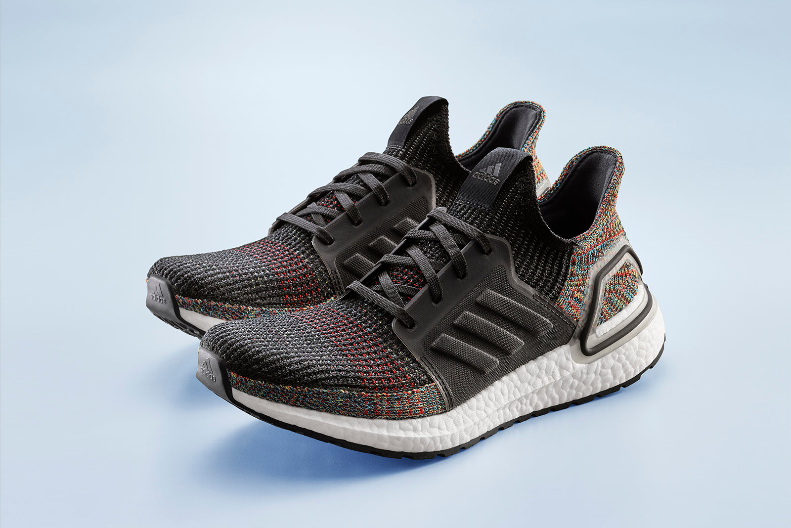 9a0259edc One of the first to emerge from the latest batch the adidas Ultraboost 19   Dark Pixel  boasts a multi colour knit detail set against a core black  base.