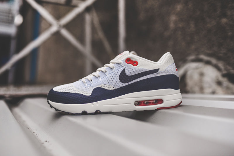 8d8e5d144a Nike Air Max 1 Ultra 2.0 Flyknit 875942-100. SAIL/OBSIDIAN-WOLF GREY- UNIVERSITY RED