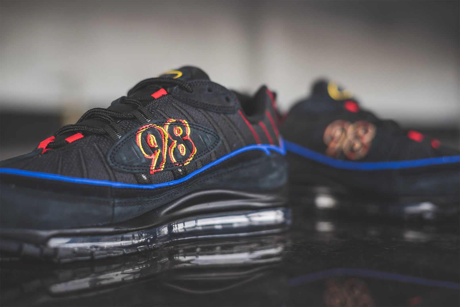 5af80d0d057e6 Nike Air Max 98. CD1537-001. Black Black-Amarillo-University Red Price   £145.00