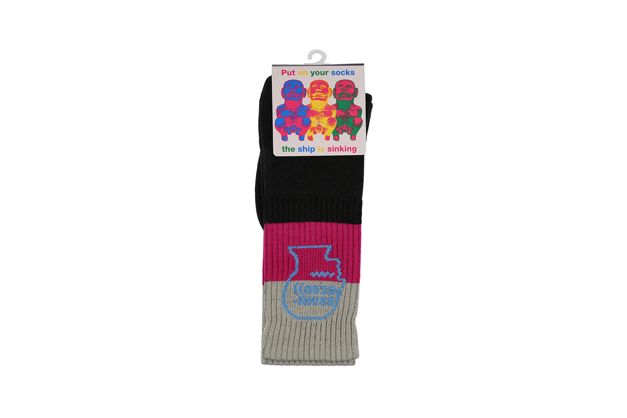Braindead Striped Logo Sock