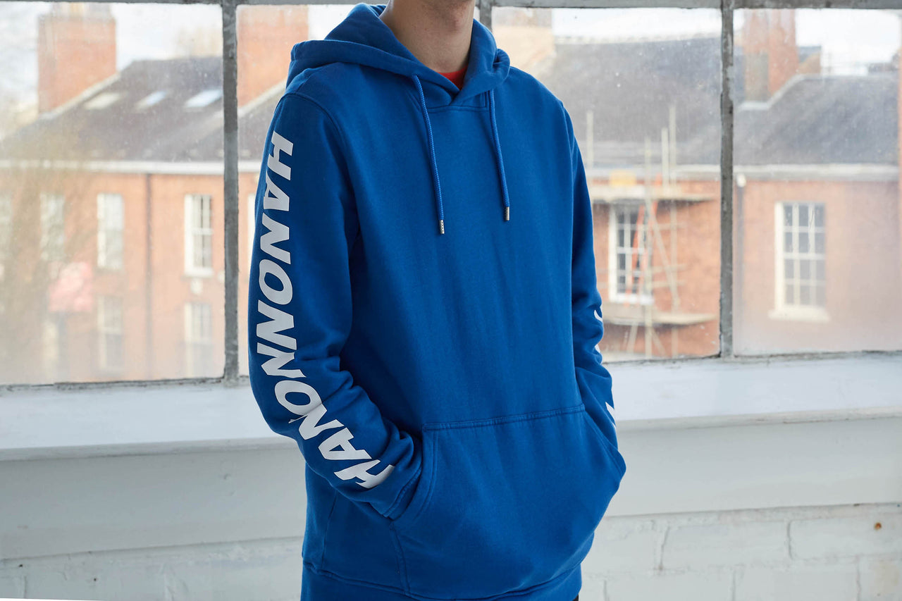 "Hanon Sleeve Printed Hooded Sweatshirt ""Royal Blue"""