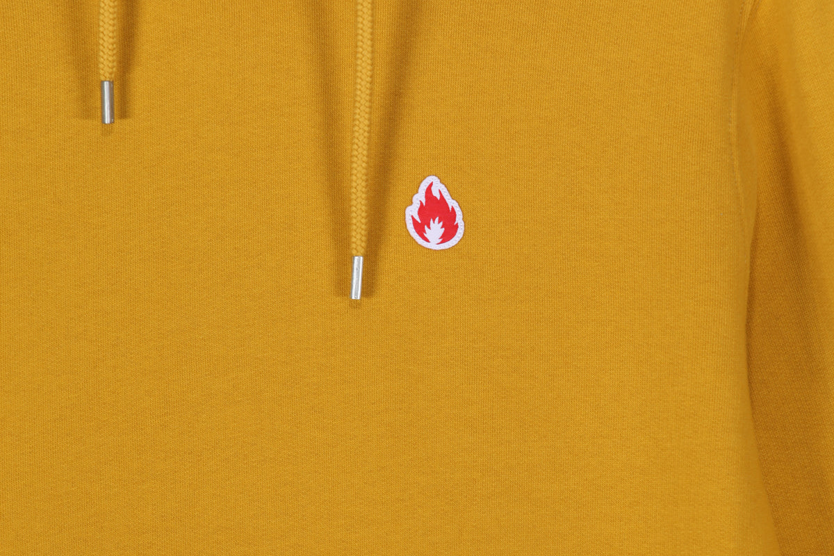 "Hanon Flame Badge Hooded Sweatshirt ""Dark Mustard"""