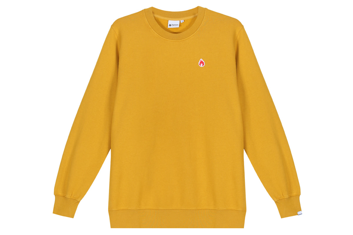 "Hanon Flame Badge Crewneck Sweatshirt ""Dark Mustard"""
