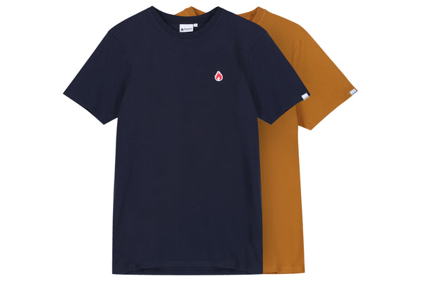 "Hanon Flame Badge Tee Double Pack ""Navy/Rust"""