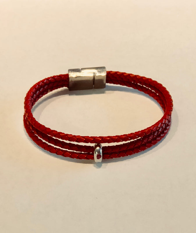 Mens Red Leather Cord Bracelet 3 strand