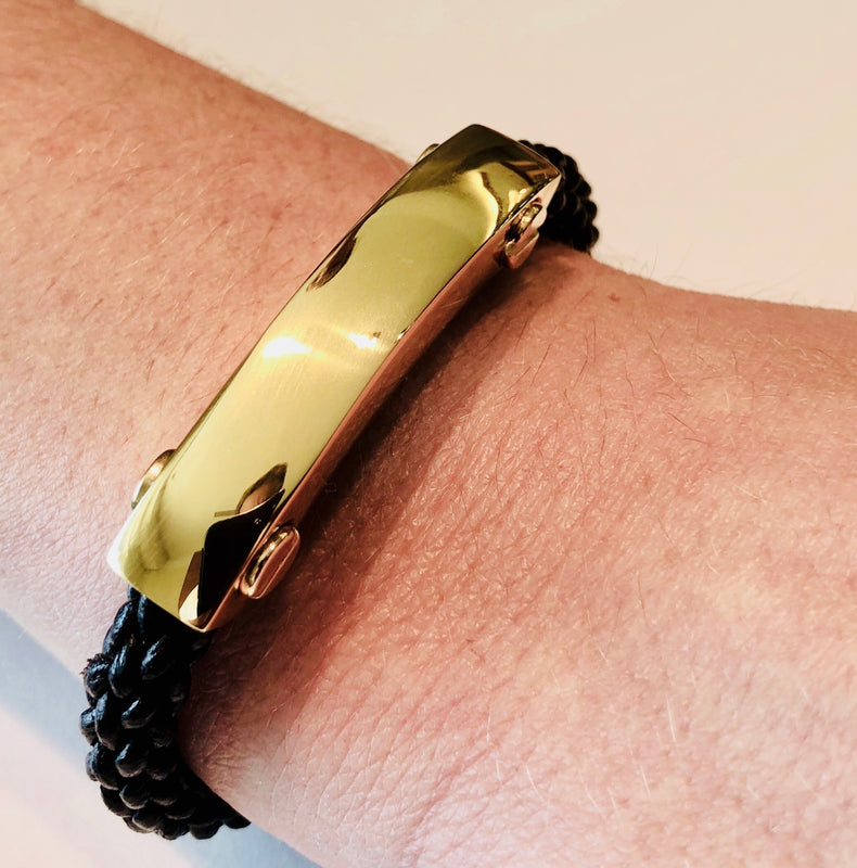 Mens Metal and Leather ID Bracelet GOLD