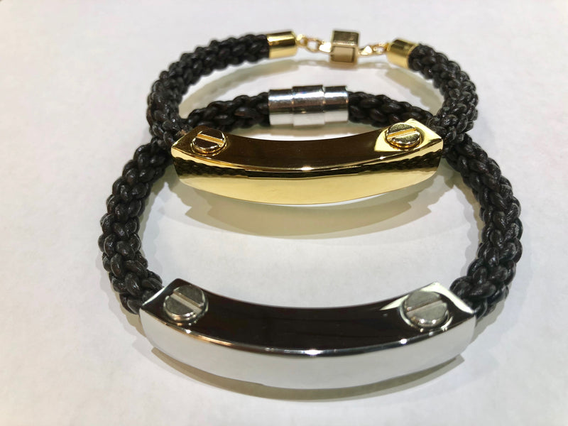 Mens Metal and Leather ID Bracelet SILVER