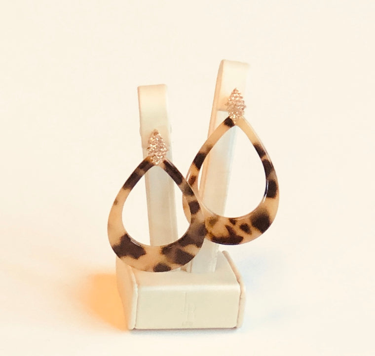 Tortoise Shell and Stone Earrings  Dark