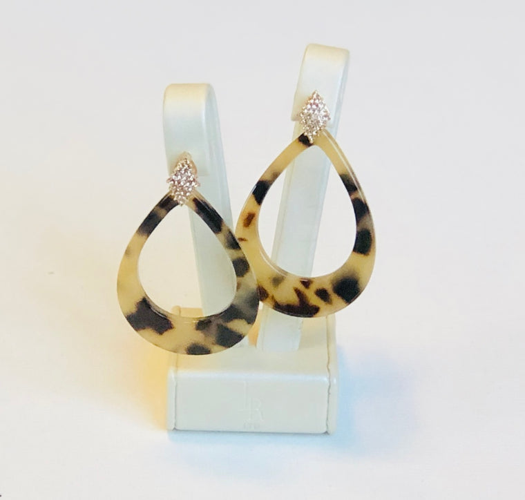 Tortoise Shell  and Stone Earrings  Light