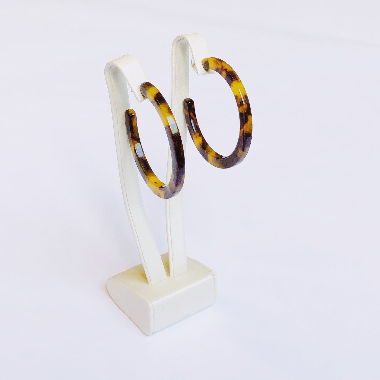 Tortoise Shell Hoop Earrings  Brown