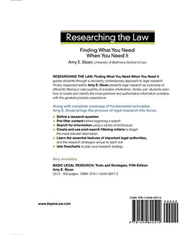 Researching the Law: Finding What You Need When You Need It (Aspen Coursebooks)
