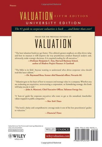 Valuation: Measuring and Managing the Value of Companies, University Edition, 5th Edition