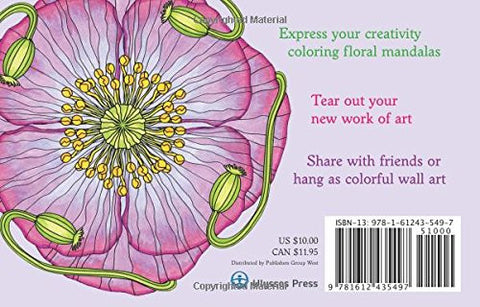 Coloring Flower Mandala Postcards: 20 Hand-Drawn Designs for Mindful Relaxation