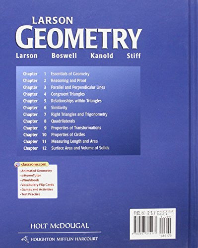 Holt McDougal Larson Geometry: Student Edition 2011