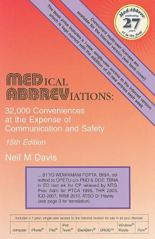Medical Abbreviations: 32,000 Conveniences at the Expense of Communication and Safety