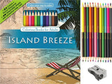 Island Breeze Adult Coloring Book Set With 24 Colored Pencils And Pencil Sharpener Included: Color Your Way To Calm