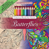 Butterflies Adult Coloring Book Set With 24 Colored Pencils And Pencil Sharpener Included: Color Your Way To Calm