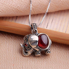 Elephant red garnet pendant