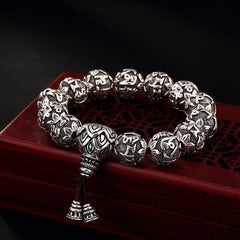 Real Solid 999 Silver Buddhist Bracelet Unisex
