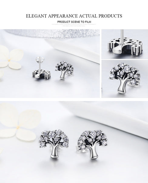 Tree of Life Clear Stud Earrings - CHAKRA HUB