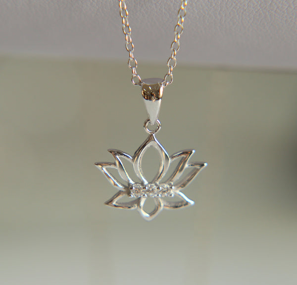925 Sterling Silver Lotus Flower Pendant Necklace: CHAKRA HUB