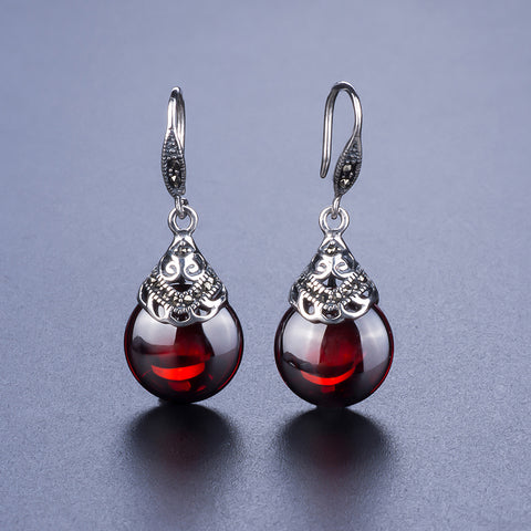 Retro Round Garnet Earrings - CHAKRA HUB