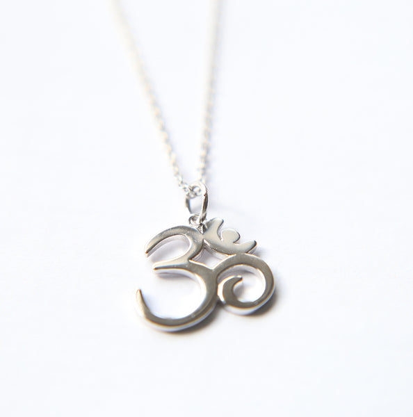925 Sterling Silver OM Symbol Yoga Necklace - CHAKRA HUB