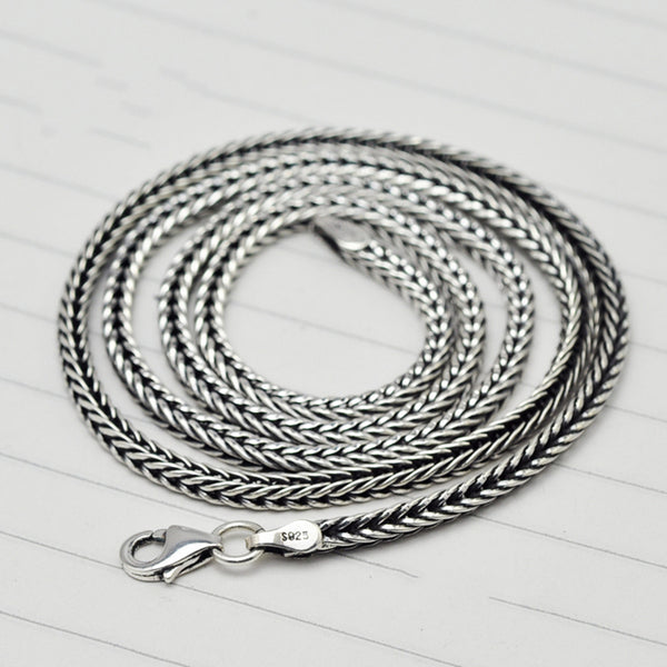 925 Sterling Silver Foxtail Necklace Chain - CHAKRA HUB