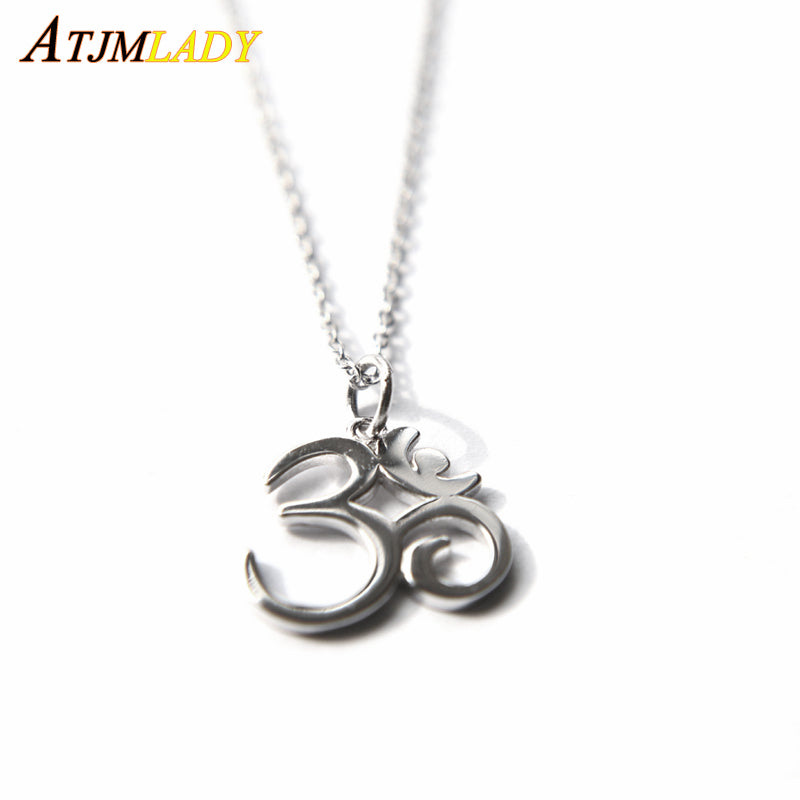 Beautiful 925 Sterling Silver Yoga Om Symbol Necklace And Pendant
