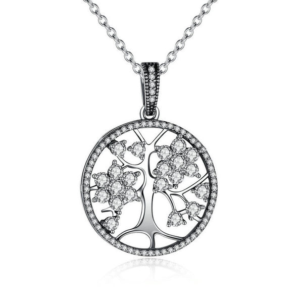 925 sterling silver Tree of Life Round Pendant Necklaces