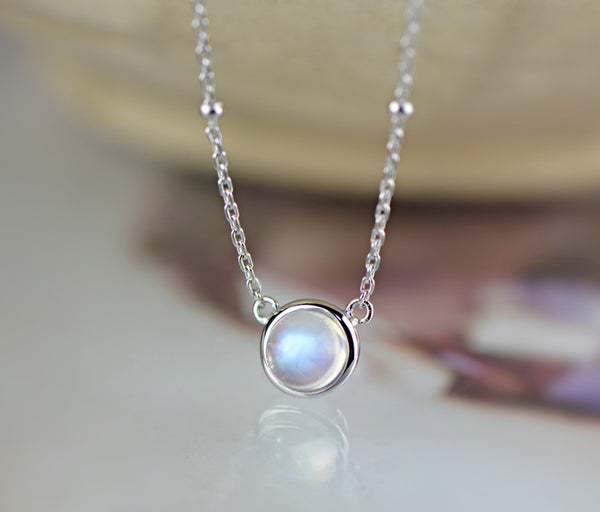 Moonstone Silver Pendant Necklace Chokers - CHAKRA HUB