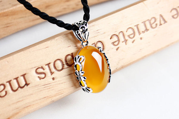 Real Silver Natural Yellow or Green Stone Necklace: CHAKRA HUB