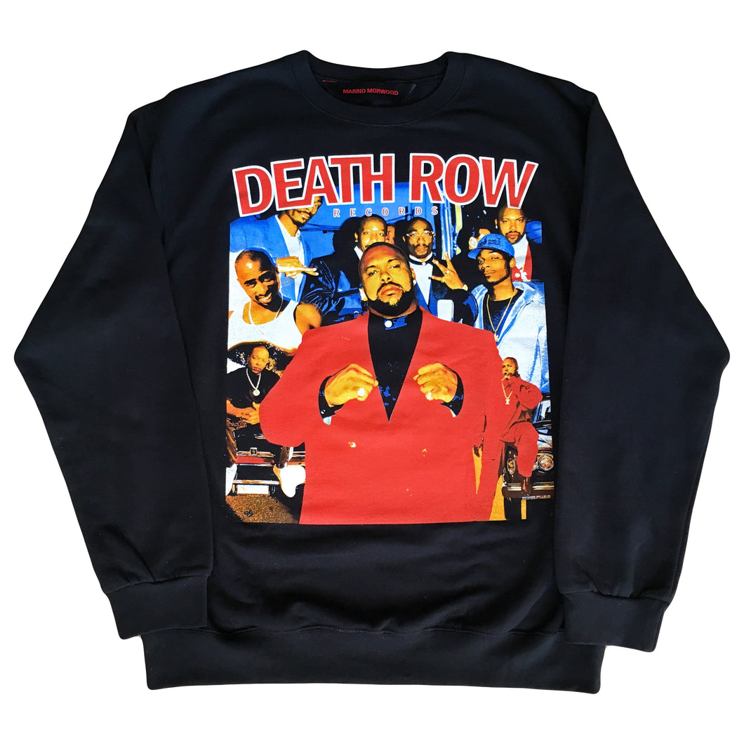 Marino Morwood Death Row Records 90s Vintage Hip Hop / Rap Inspired Sweatshirt Merch Featuring Artists From Death Row Records Label 2pac Tupac Shakur, Suge Knight, Snoop Dogg, Dr Dre, Warren G