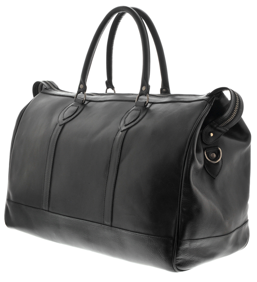 Leather Duffel Bag - Black - LeatherLately