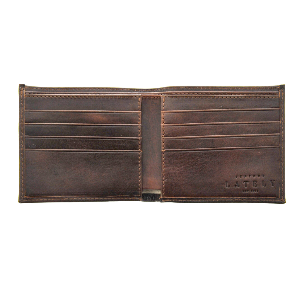Leather Bifold Wallet - Brown - LeatherLately