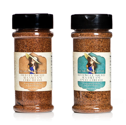 Yo Momma's Style Spice Rub Combo Pack- Hickory Smoked Sea Salt & Chipotle, Alderwood Smoked Sea Salt & Ancho Chile Rub - 5.15oz, Pack of 2
