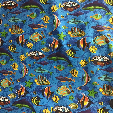 Fish Print Poly Cotton Fabric