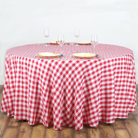 "108"" Polyester Checkered Round Tablecloth"