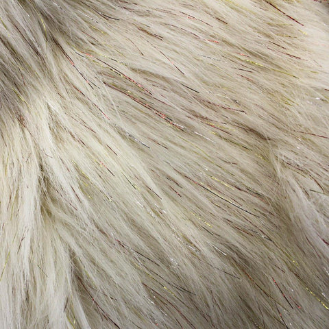 Faux Fake Fur Solid Shiny Glitter Long Pile Fabric