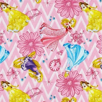 Disney Princess on Chevron Pink 100% Cotton Fabric